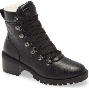 CASLON Tatum Faux Fur Lined Lug Bootie Black sz7.5